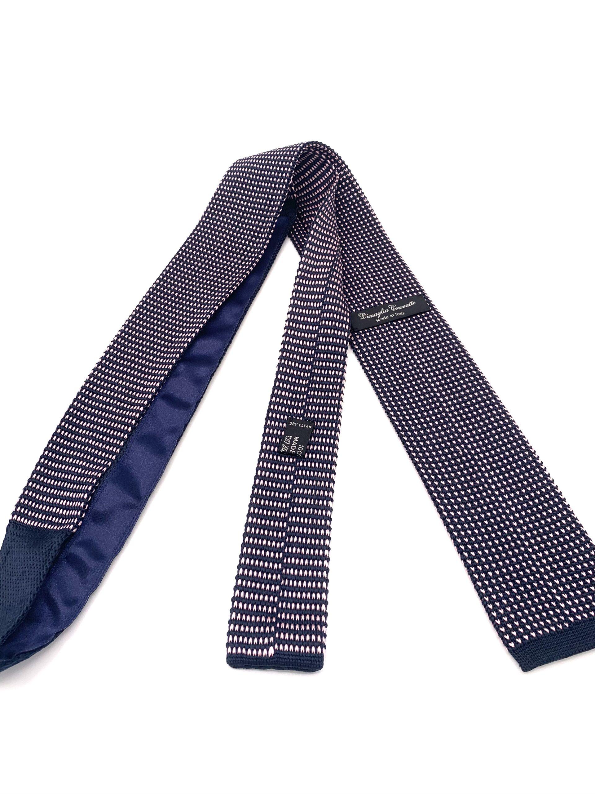 DIMAGLIA - cravatta di maglia con puntini blu e rosa retro