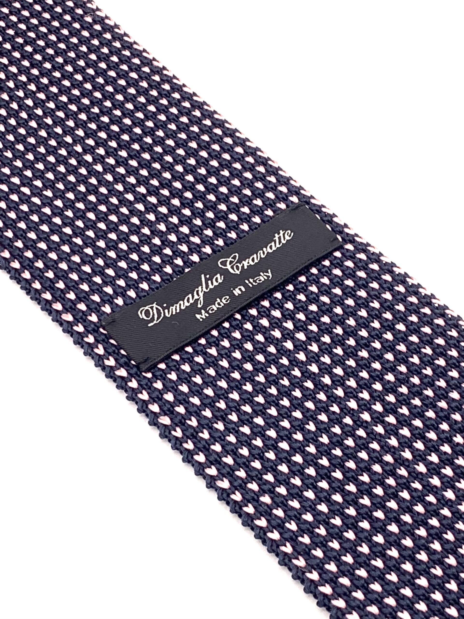 DIMAGLIA - cravatta di maglia con puntini blu e rosa zoom