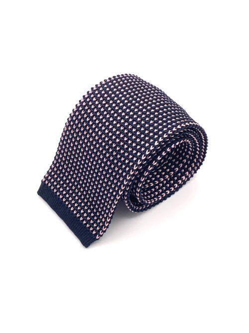 DIMAGLIA - cravatta di maglia con puntini blu e rosa