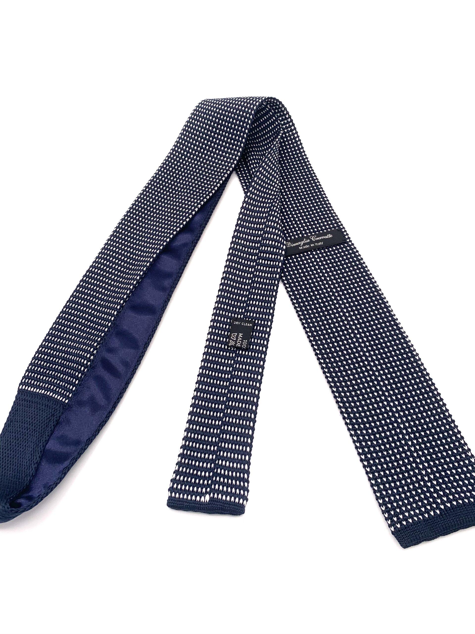 DIMAGLIA - cravatta di maglia blu e grigia retro