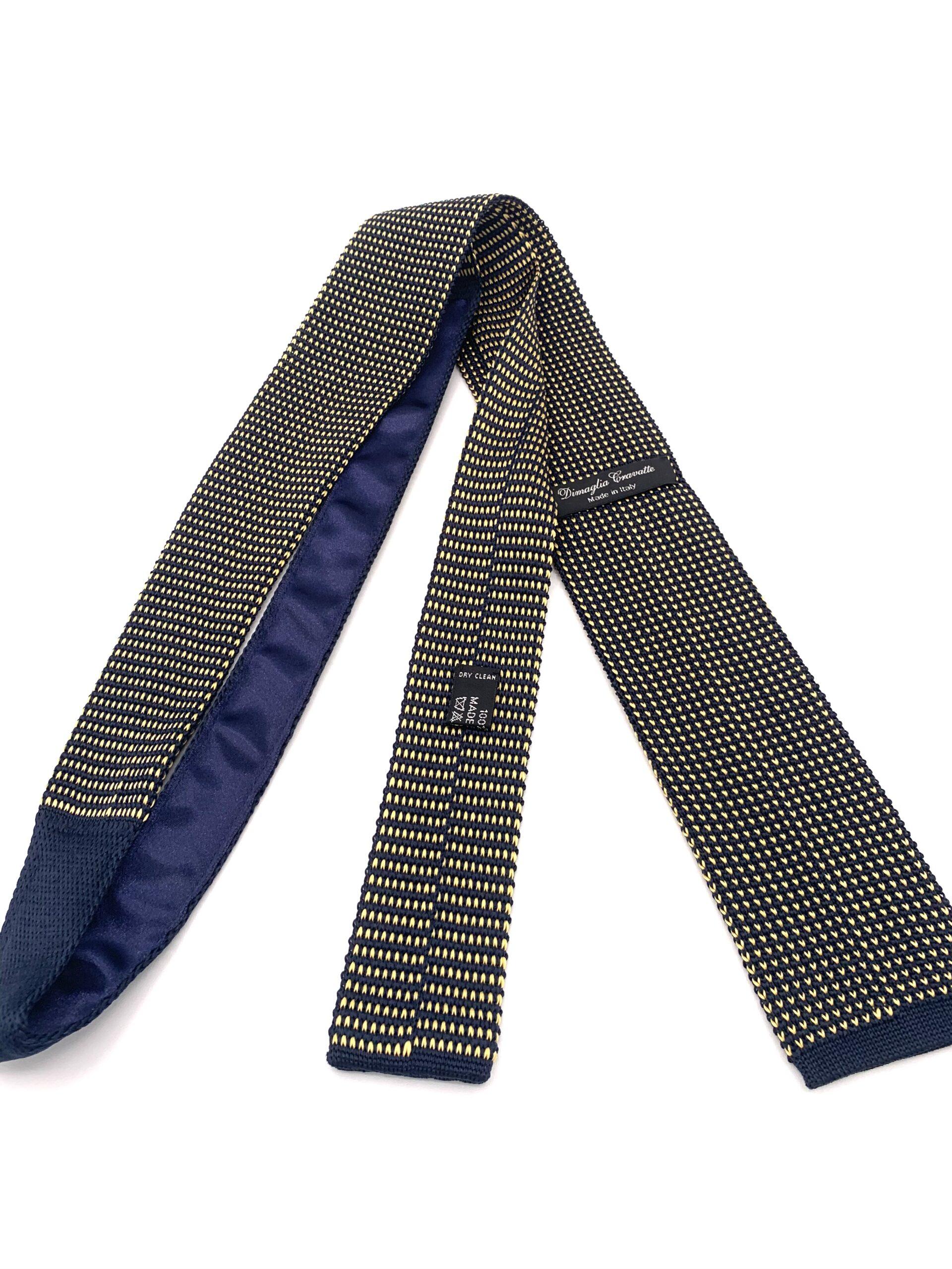 DIMAGLIA - cravatta di maglia con puntini blu e giallo retro