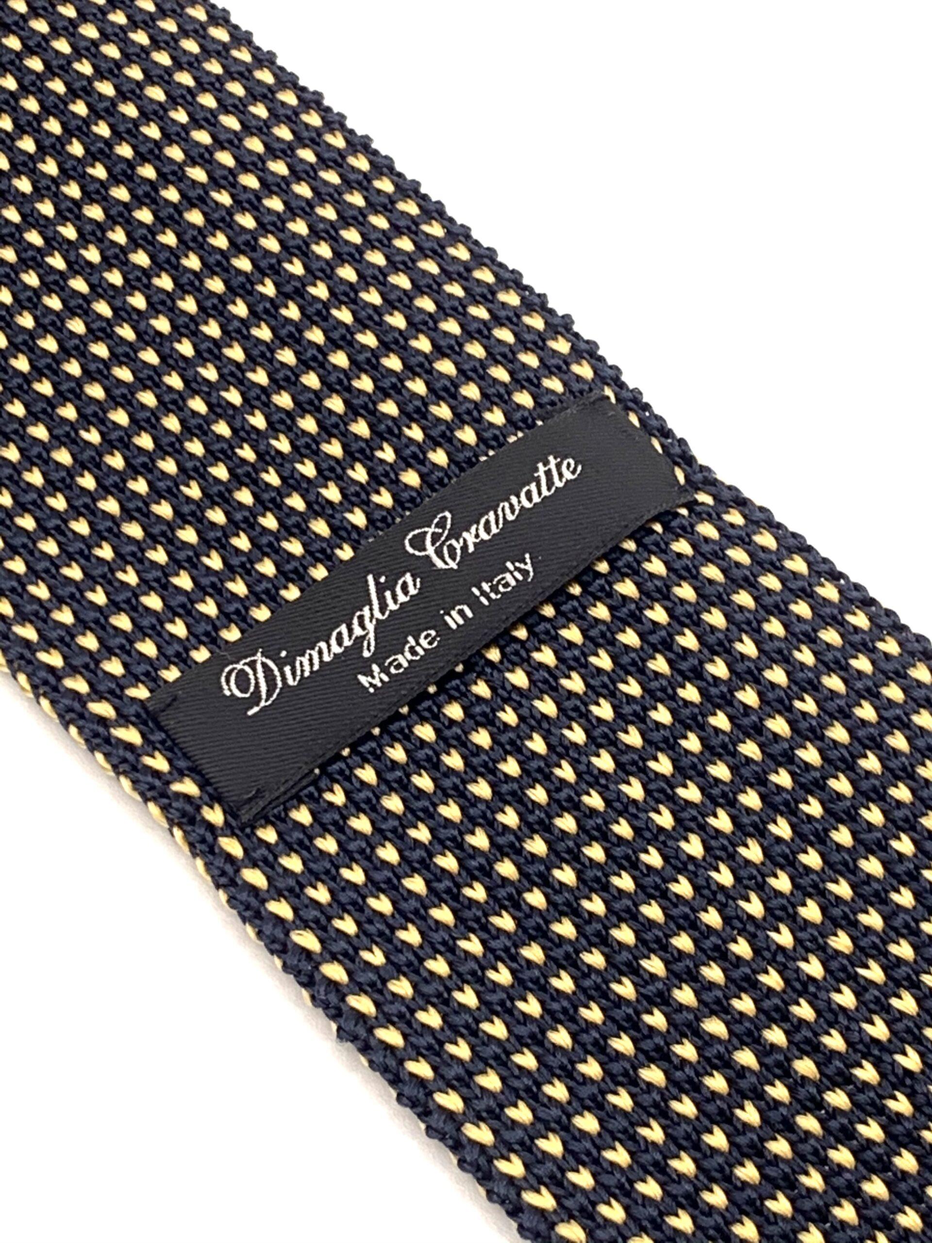 DIMAGLIA - cravatta di maglia con puntini blu e giallo zoom