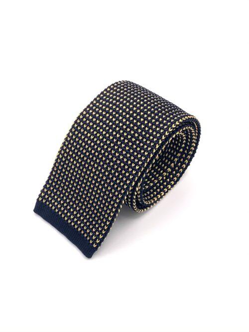 DIMAGLIA - cravatta di maglia con puntini blu e giallo